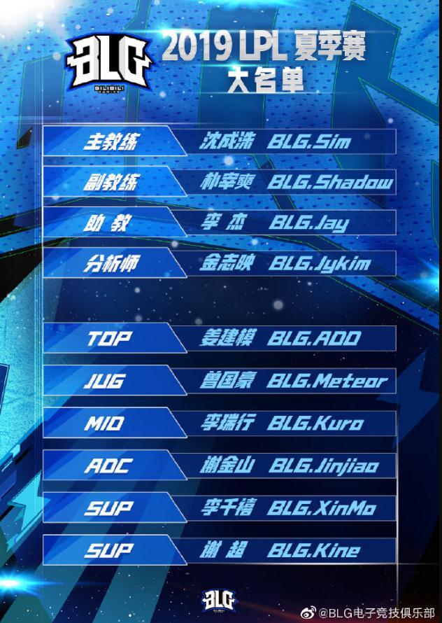 BLG:英雄联盟2019夏季赛大名单进行了公布!!